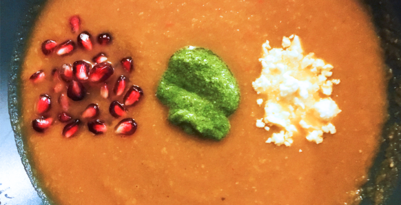 Roasted Pumpkin and Pomegranate Soup