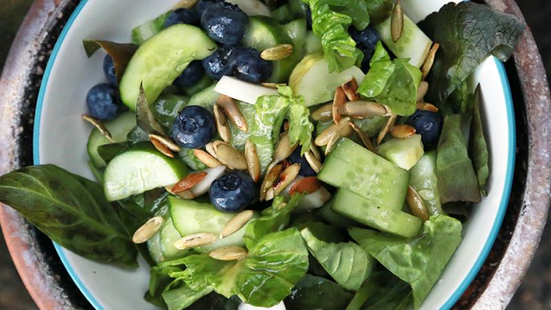 Cucumber, blueberry and basilsalad